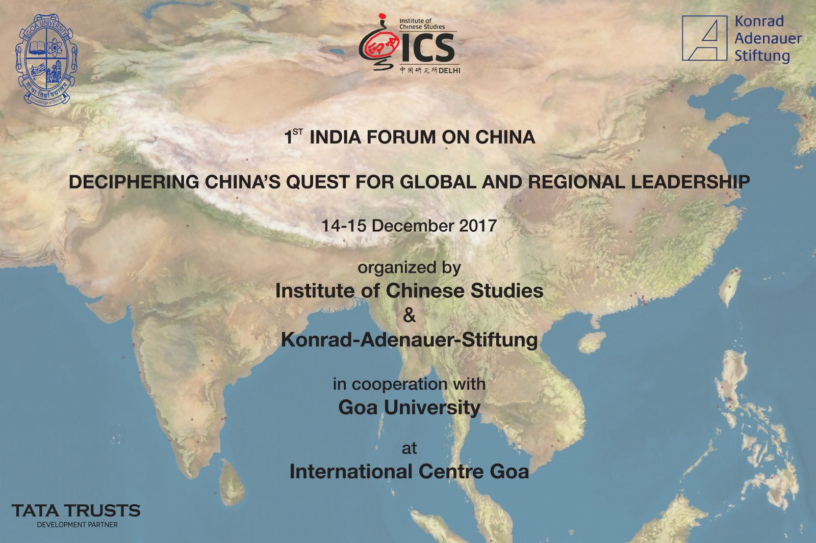 Ics institute of chinese studies the institute of chinese studies delhi and konrad adenauer stiftung india organized the 1st india forum on china at goa from 14 to 15 december 2017 in gumiabroncs Image collections